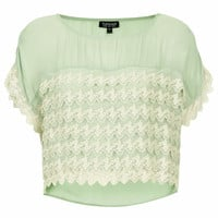 Sage Lace Tiered Top