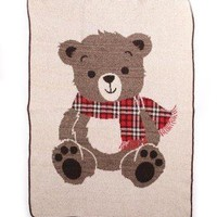 Charming Mr. Teddy Bear Throw Blanket - Made in the USA of 75% Pre-Consumer Materials