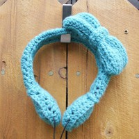 Adorable Bow Crocheted Headphones - Teal