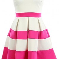 Colorblock Strapless Dress