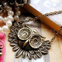 Bronze Retro Owl Necklace