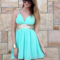 Mint Green & Gold Sequin Sleeveless Party Dress