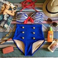 Sailor High Waist Swimsuit - Blue & White Striped Top and Blue Bottoms - Smoky Mountain Boutique
