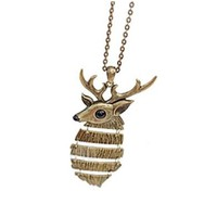 Vintage Bronze Deer Stag Necklace