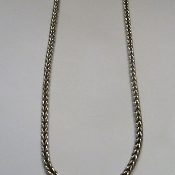Vintage Silver Tone Braided Woven Necklace Magnetic Costume Jewelry