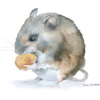Field Mouse Watercolor Painting - Giclee Print - 5 x 7 - Nursery Art - Woodland Animal