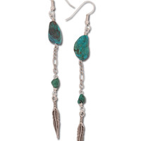 Handmade Turquoise Feather Earrings: Soul Flower Clothing
