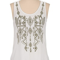 embroidered tribal tank