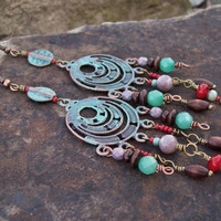 Shoulder Duster Chandelier Tribal Hippie Earrings - Patina Earrings - Rustic Gypsy - Long Earrings