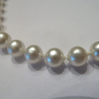 Vintage Faux Pearl Single Strand Necklace Costume Jewelry Prom Bride Wedding