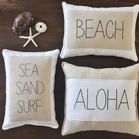 Beach Pillows - Set of 3 - beach decor - surf pillow - nautical pillows - aloha pillow - sea sand surf - 3 throw pillows - beach house decor
