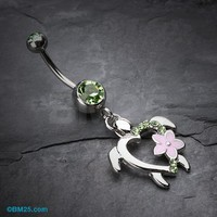 Hawaiian Flower Turtuoise Belly Button Ring