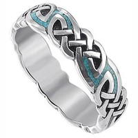 Sterling Silver Celtic Turqouise Inlay Southwestern Style Band Ring
