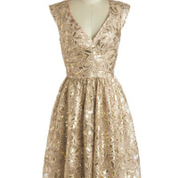 Twinkling at Twilight Dress in Champagne | Mod Retro Vintage Dresses | ModCloth.com