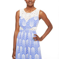 Chevron Print Lace Inset Dress