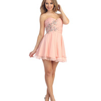 2014 Prom Dresses - Blush Chiffon & Beaded Floral Strapless Dress