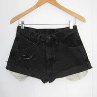 Vintage Cut Off High Waisted Jean Shorts Black Denim Cuffed 28""
