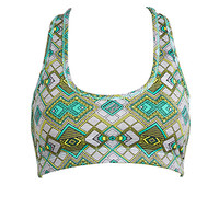 FOREVER 21 Medium Impact Geo Print Sports Bra Teal/Lime X-Small