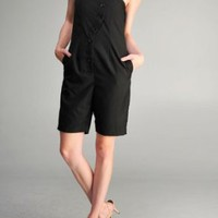 Women's Strapless Curve Buttoned Tunic Bermuda Romper with Pockets