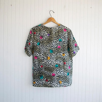 90s Silk Abstract Leopard Blouse - S