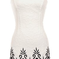 Luxury Resort Dress | Ivory Embroidered Scalloped Damask Dresses | Rickety Rack