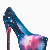 Liliana Solange Almond Toe Galaxy Print Heel @ Cicihot Heel Shoes online store sales:Stiletto Heel Shoes,High Heel Pumps,Womens High Heel Shoes,Prom Shoes,Summer Shoes,Spring Shoes,Spool Heel,Womens Dress Shoes
