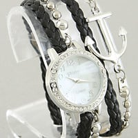 Anchor Bracelet Watch in Black & Silver from P.S. I Love You More Boutique
