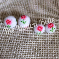 Coming Up Roses Cover Button Earrings