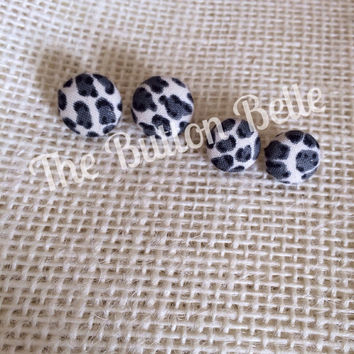 Snow Leopard Cover Button Earrings