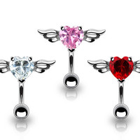Angel Winged Heart Top Down Belly Button Ring Navel Body Jewelry Piercing