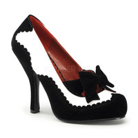 PRE-ORDER**Black And White Velvet Bow Tie Shoes-6-12 - Unique Vintage - Bridesmaid & Wedding Dresses