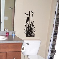 Dragonflies with Cattails Vinyl Wall Art Decal