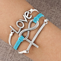 New Infinity Anchor Gold Cross Braided Leather Cute Charm Bracelet