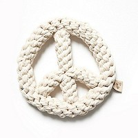 Jax and Bones Womens Peace Sign Rope Dog Toy - Red, One