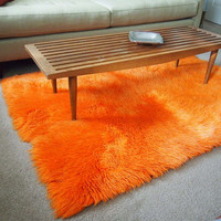 Beautiful red orange Scandinavian Rya shag Rug, Mid Century Home Decor