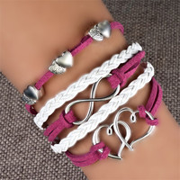 Fashion New Hot Love Anchor Leather Cute Charm Bracelet Silver Lots Style Pick