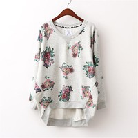 Vintage Rose Pattern Long Loose Shirt Hoody For Women