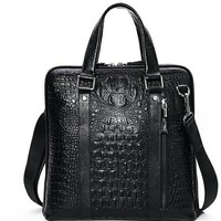 Men's Messenger Zipper Crocodile Grain Vertical Leather Bag by martEnvy