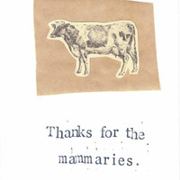Funny Vintage Cow Mother's Day Card: Thanks For The Mammaries