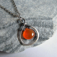 Sterling Silver Hoop Necklace, Carnelian Heart Tear Dorp Pendant , Rustic Wire Wrapped Jewelry