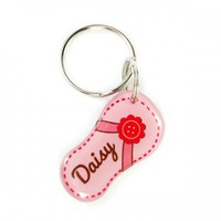 Pink Flower Flip-Flop Shape Pet ID tag | metamorphdesigns - Pets on ArtFire