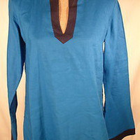 Ralph Lauren Women&#x27;s Linen Tunic Blouse Top Summer sz Small Royal Blue &amp; Navy | eBay