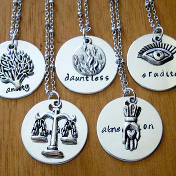 Divergent Inspired Factions Necklace lot of 5. Dauntless, Candor, Abnegation, Amity, Erudite. Tris. Silver colored, charm pendant, jewelry.