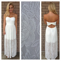 Ivory Franchesca Lace Maxi Dress