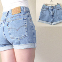 Vintage Levis 550 High Waisted Denim Cutoff Jean Shorts - 80s 90s Cuffed Faded Blue Women's Levis Shorts - Size 8