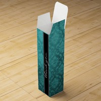 Teal Green Damask Black Thank You Wine Gift Box