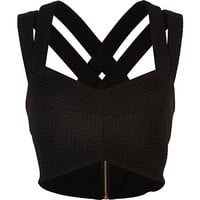 Black textured strappy bralet - crop tops / bralets / bandeau tops - tops - women