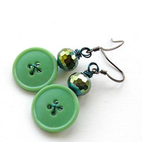 Bright Emerald Green Sparkle Fun Vintage Button Earrings - Funky Jewelry - Pop of Color