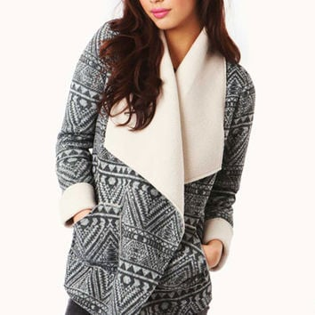 Bobbi Aztec Fleece Lined Wrap Around Jacket With Waist Belt in Grey at Fashion Union