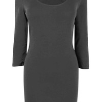 Melba Black 3/4 Sleeve Tunic Jersey Top at Fashion Union